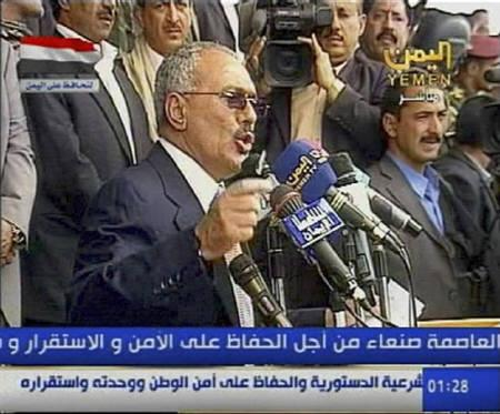 Yemeni President Ali Abdullah Saleh speaks to his supporters in Sanaa March 25, 2011, in this still image taken from video footage. REUTERS/Yemen state TV via Reuters TV