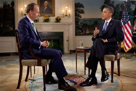 U.S. President Barack Obama is seen being interviewed by Britian's Andrew Marr of the BBC in the Diplomatic Reception Room in the White House, in Washington in this photograph received in London on May 21, 2011. Photograph taken on May 19, 2011. REUTERS/Pete Souza/The White House/BBC/Handout