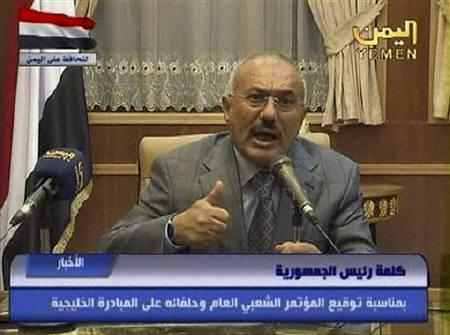 A still image taken from footage of Yemen's President Ali Abdullah Saleh giving a televised speech after refusing to sign a transition of power deal in Sanaa May 22, 2011. REUTERS/Yemen TV via Reuters TV