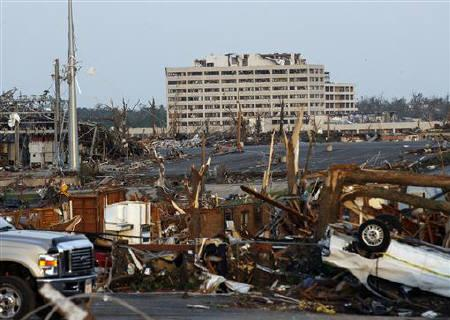A view of the destruction after a tornado blew the roof off the St. John's Regional Medical Center where about 180 patients cowered and were eventually evacuated in Joplin, Missouri  May 23, 2011. REUTERS/Mike Stone