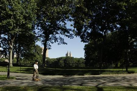 A man walks his dog through Central Park in New York August 27, 2010. REUTERS/Lucas Jackson