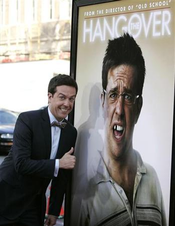 Cast member Ed Helms poses for photographers next to a poster of his character as he arrives at the Los Angeles premiere of the film ''The Hangover'' at the Grauman's Chinese theatre in Hollywood, California, June 2, 2009. REUTERS/Danny Moloshok