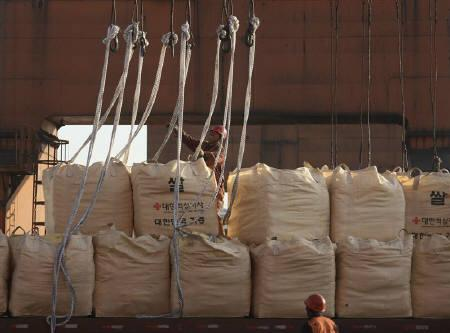 A Chinese worker unloads sacks of rice from South Korea, which will be sent to North Korea, at Dandong port, Liaoning province October 31, 2010. A U.S. envoy visits North Korea on Tuesday to assess its pleas for food aid, with some sceptical the shortages are as acute as the impoverished and secretive state claims. REUTERS/Stringer/Files