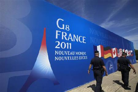 French gendarme patrol as part of security measures ahead of the the G8 summit in Deauville, northern France, May 23, 2011. REUTERS/Pascal Rossignol