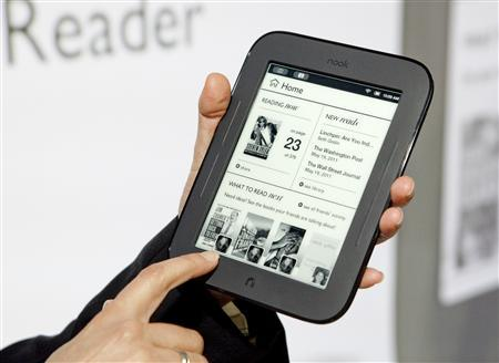 The newest Barnes & Noble device in its bestselling NOOK product line, a 6-inch touch eReader, is pictured at an event held in their Union Square bookstore in New York, May 24, 2011. REUTERS/Mark Dye/newscast/Handout