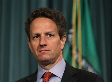 Treasury Secretary Timothy Geithner is pictured at a briefing on the Social Security and Medicare Trustee reports released at the Treasury Department in Washington, May 13, 2011. REUTERS/Jason Reed