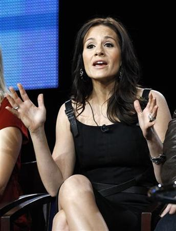 Head judge Kara DioGuardi answers a question at the Bravo panel for the show ''Platinum Hit'' during the Television Critics Association winter press tour in Pasadena, California January 13, 2011. REUTERS/Mario Anzuoni