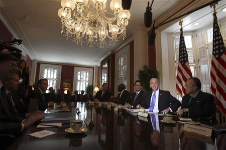 Vice President Joe Biden hosts a meeting with congressional Republicans and Democrats at Blair House, May 5, 2011. REUTERS/Jason Reed