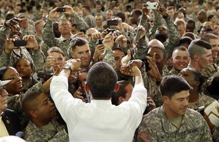 U.S. President Barack Obama greets troops at Fort Campbell in Kentucky May 6, 2011. REUTERS/Kevin Lamarque