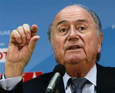 FIFA President Sepp Blatter speaks during a news conference at the Club World Cup in Zayed Sports City in Abu Dhabi in this December 17, 2010 file photograph. REUTERS/Fahad Shadeed/Files