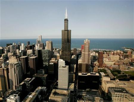 The Sears Tower is shown in this aerial view of Chicago July 6, 2006. REUTERS/Jason Reed