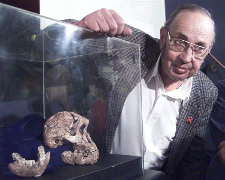 Palaeontogist Dr Andre Keyser unveils a pair of 1.5 to 2.0 million-year-old homonid fossils found west of Johannesburg in this April 26, 2000 file photo. The fossil christened Eurydice, is the most complete apeman skull ever excavated and described and belongs to a female from the hominid specimen Paranthropus robustus. REUTERS/Mike Hutchings