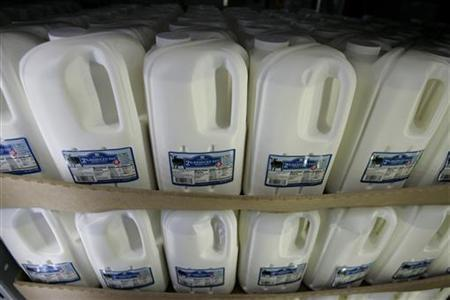 Milk is for sale at a Sam's Club in Fayetteville, Arkansas June 5, 2008. REUTERS/Jessica Rinaldi