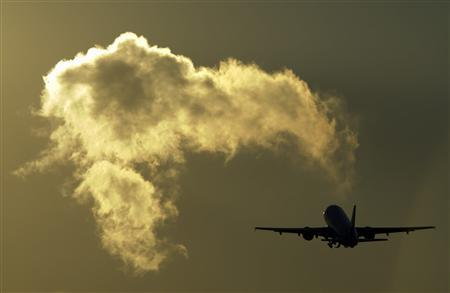 An aircraft takes off at Cointrin airport in Geneva in this December 8, 2008 file photo. REUTERS/Denis Balibouse/Files