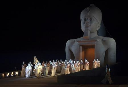 Members from Israel's opera perform Giuseppe Verdi's Aida during a dress rehearsal at the foothill of the historic mountain of Masada, near the Dead Sea May 31, 2011. REUTERS/Darren Whiteside