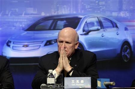 GM Chief Executive Daniel Akerson pauses at a news conference in Beijing, February 15, 2011. REUTERS/Jason Lee