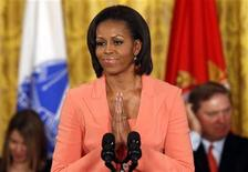 "<p>First lady Michelle Obama speaks during the launch of ""Joining Forces"", a national initiative in support of service members and their families, in the East Room at the White House in Washington, April 12, 2011. REUTERS/Kevin Lamarque</p>"