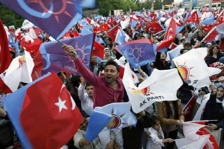 Turkey's ruling AK Party supporters celebrate the results of the elections in front of the party headquarters in Ankara June 12, 2011. REUTERS/Umit Bektas