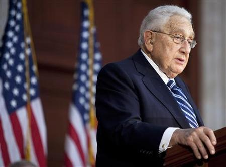 Former U.S. Secretary of State Henry Kissinger speaks during a ceremony unveiling a statue of former U.S. President Gerald Ford in the Rotunda of the U.S. Capitol in Washington May 3, 2011. REUTERS/Joshua Roberts