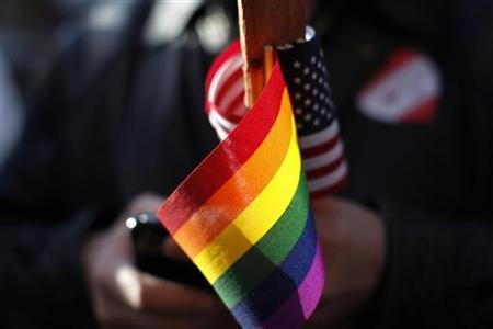 Marriage equality supporter Gus Thompson holds gay pride and American flags at a demonstration outside the appeals hearing on California's Proposition 8 at the 9th District Court of Appeals in San Francisco December 6, 2010. REUTERS/Stephen Lam