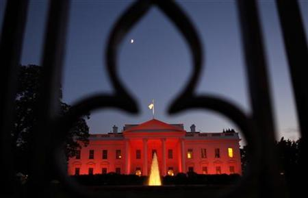 The White House is lit the color pink to highlight Breast Cancer Awareness Month in Washington October 14, 2010. REUTERS/Kevin Lamarque