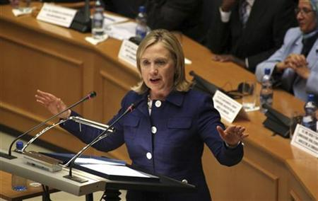 Secretary of State Hillary Clinton addresses the 53-member African Union at the AU's headquarters in Ethiopia's capital Addis Ababa, June 13, 2011. REUTERS/Stringer