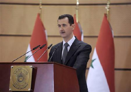 Syria's President Bashar al-Assad speaks in Damascus, June 20, 2011, in this handout photograph released by Syria's national news agency SANA. REUTERS/Sana/Handout