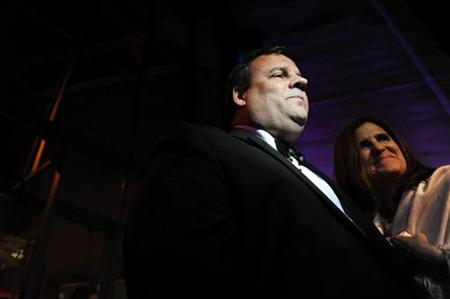 New Jersey Governor Chris Christie (L) and his wife Mary Pat Christie arrive at the Embassy of Italy for an MSNBC after-party following the annual White House Correspondents' Association dinner in Washington April 30, 2011. REUTERS/Jonathan Ernst