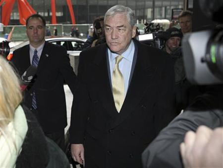 Conrad Black arrives at the Federal Courthouse in Chicago for a status hearing, January 13, 2011. REUTERS/John Gress