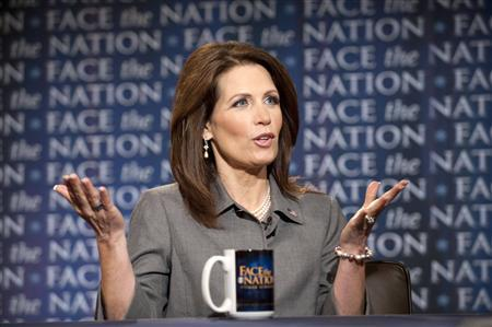 Michele Bachmann, a 2012 Republican presidential candidate and Minnesota congresswoman, talks about jobs, the deficit and President Barack Obama on ''Face the Nation with Bob Schieffer'' on June 26, 2011. REUTERS/ CBS News Photo by Chris Usher-CBS News/Handout
