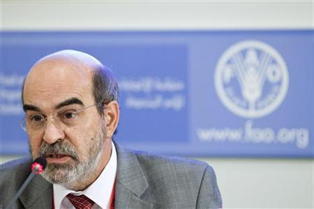 Jose Graziano da Silva of Brazil, the newly appointed director-general of the UN's Food and Agriculture Organization (FAO), speaks during a news conference at the FAO headquarters in Rome June 27, 2011. REUTERS/FAO/Alessia Pierdomenico/Handout