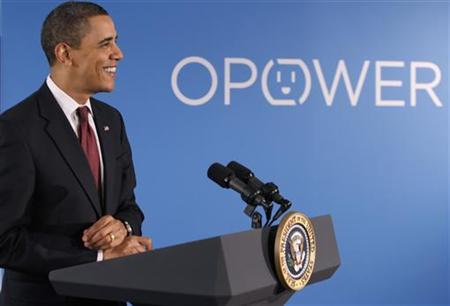 U.S. President Barack Obama speaks on clean energy jobs at Opower, a smart grid and energy efficiency software company in Arlington, March 5, 2010. REUTERS/Jason Reed
