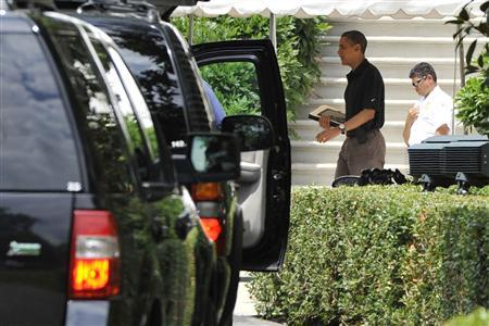 President Barack Obama departs for a round of golf from the White House, June 25, 2011. REUTERS/Jonathan Ernst