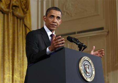 U.S. President Barack Obama speaks during a news conference in the East Room of the White House in Washington, June 29, 2011. REUTERS/Kevin Lamarque