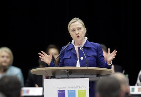 Secretary of State Hillary Clinton speaks during the Community Of Democracies ministerial conference in Vilnius July 1, 2011. REUTERS/Ints Kalnins