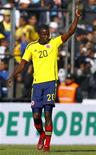 Colombia's Adrian Ramos celebrates after scoring a goal against Costa Rica during their Copa America soccer match in Jujuy, northern Argentina, July 2, 2011. REUTERS/Jorge Silva (ARGENTINA - Tags: SPORT SOCCER)