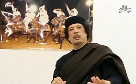 Libyan leader Muammar Gaddafi speaks during a live speech in this still image taken from video April 30, 2011. Gaddafi is fiercely intelligent, loves his family and just might do what everyone is least expecting and let go of power. REUTERS/Libya TV via Reuters TV