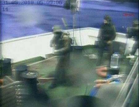 Israeli commandos are seen on a Gaza-bound ship in the Mediterranean Sea in this frame grab taken from footage released by DHA on May 31, 2010. REUTERS/DHA via Reuters TV
