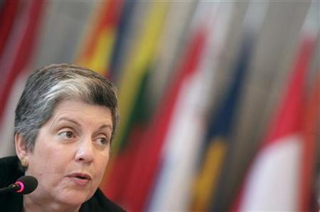 U.S. Secretary of Homeland Security Janet Napolitano attends a news conference at the OSCE headquarters in Vienna July 1, 2011. REUTERS/Herwig Prammer