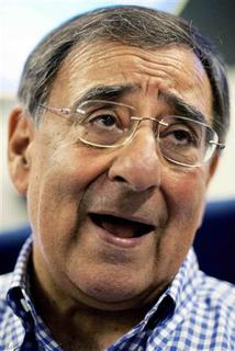 United States Secretary of Defense Leon Panetta talks to reporters at Manas Air Force Base while en route to Afghanistan July 9, 2011. REUTERS/Paul Richards/Pool