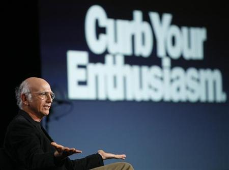 Actor Larry David gestures during a panel discussion for the new season of his upcoming HBO show ''Curb Your Enthusiasm'' at the Television Critics Association Cable summer press tour in Pasadena, California July 30, 2009. REUTERS/Mario Anzuoni