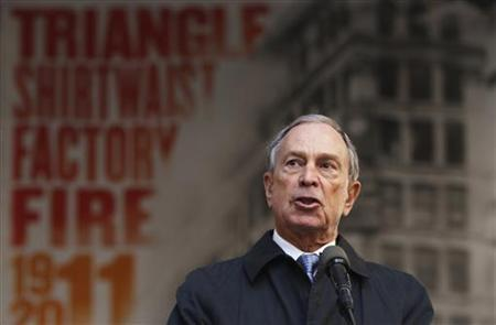 New York City mayor Michael Bloomberg speaks during a ceremony to commemorate the 100th anniversary of the Triangle Shirtwaist fire in New York March 25, 2011. REUTERS/Lucas Jackson