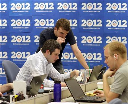 Campaign staff at work in President Obama's campaign headquarters in Chicago, May 12, 2011. REUTERS/John Gress