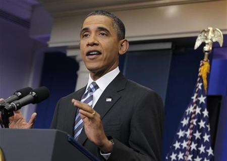 President Barack Obama speaks during a news conference in the Brady Press Briefing Room of the White House in Washington, July 15, 2011. REUTERS/Jason Reed