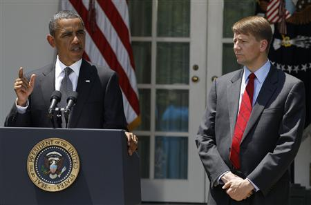 President Barack Obama announces that Richard Cordray is his choice to serve as the first Director of the Consumer Financial Protection Bureau, in the Rose Garden of the White House, July 18, 2011. REUTERS/Larry Downing