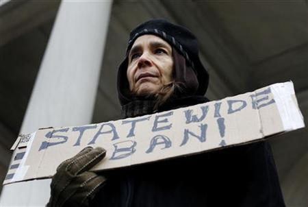 A woman stands on the steps of New York City Hall protesting the states plan for shale oil drilling in the city's watershed in New York January 4, 2010. REUTERS/Shannon Stapleton