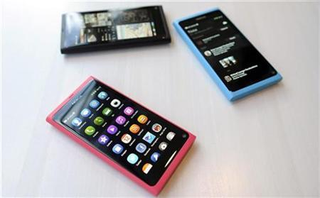 The Nokia N9 smartphone is displayed at a Nokia news conference in Espoo, June 21, 2011. REUTERS/Heikki Saukkomaa/Lehtikuva