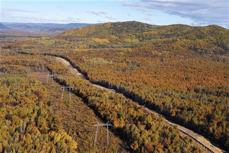 An aerial view shows a site of the construction of the East Siberian Pacific Ocean (ESPO) pipeline in Russia's Jewish Autonomous Region, October 2, 2010. REUTERS/Jessica Bachman