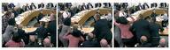 Комбинированное фото, на котором видно, как Венди Денг (в розовом) ударяет мужчину, кинувшего в Руперта Мердока тарелку с пеной , 19 июля 2011 года. Медиамагнат Руперт Мердок подвергся во вторник нападению на слушаниях в британском парламенте: неизвестный запустил в австралийца тарелку с пеной, прервав заседание, посвященное скандалу с прослушкой телефонов. REUTERS/Parbul TV via Reuters TV