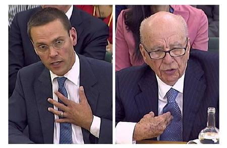 BSkyB Chairman James Murdoch (L) and his father, News Corp Chief Executive and Chairman Rupert Murdoch, appear in images made from television as they are questioned by parliamentary committee on phone hacking at Portcullis House in London July 19, 2011. REUTERS/Parbul TV via Reuters Tv